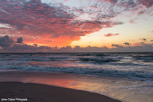 cocoabeach florida sunrise beach reflection sky clouds waves romantic dawn landscape seascape ocean