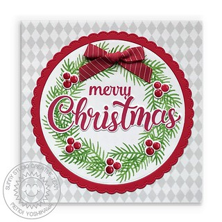 Sunny Studio Season's Greetings Wreath Card