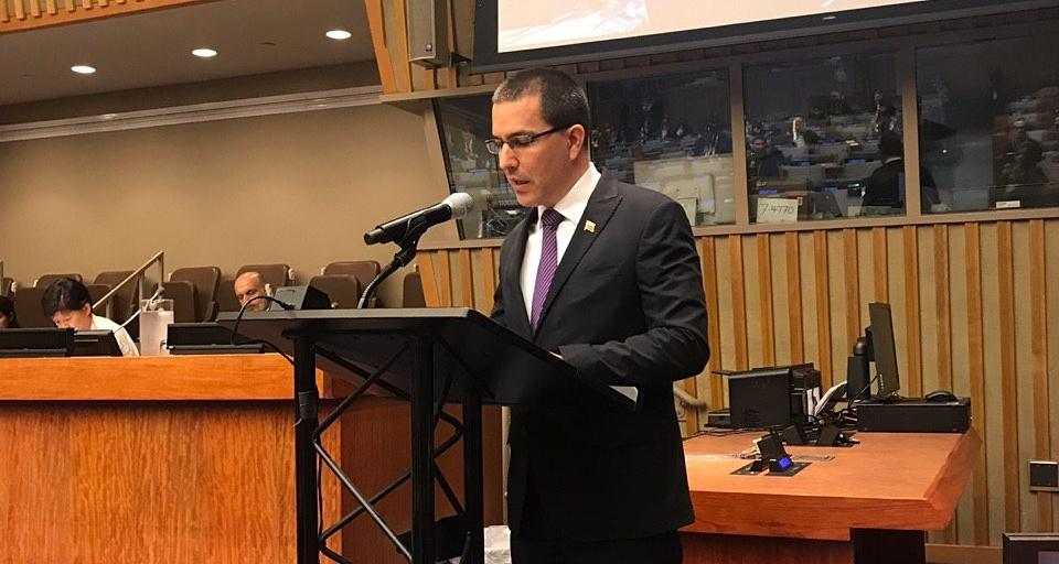 Intervención del canciller Jorge Arreaza en nombre del Mnoal durante reunión de la Asamblea General de la ONU para conmemorar y promover el día para la eliminación total de las armas nucleares