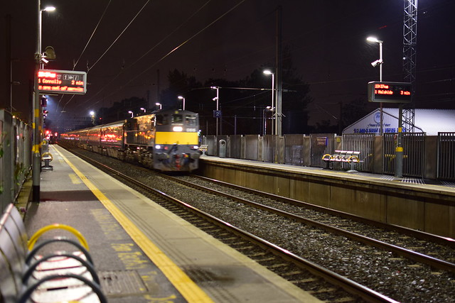 The horrible moment of blurred , A rare sight an 071 class with MK3s seen here passing Clontarf Road station (Belmond Grand Hibernian train)on route to Dundalk 26/09/19 time 23:34pm