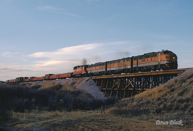 C&S Southbound Freight with DRGW 5574 Departing Horse Creek, WY April 9, 1971