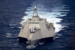 USS Gabrielle Giffords (LCS 10) transits the Pacific earlier this month. (U.S. Navy/MC3 Josiah J. Kunkle)