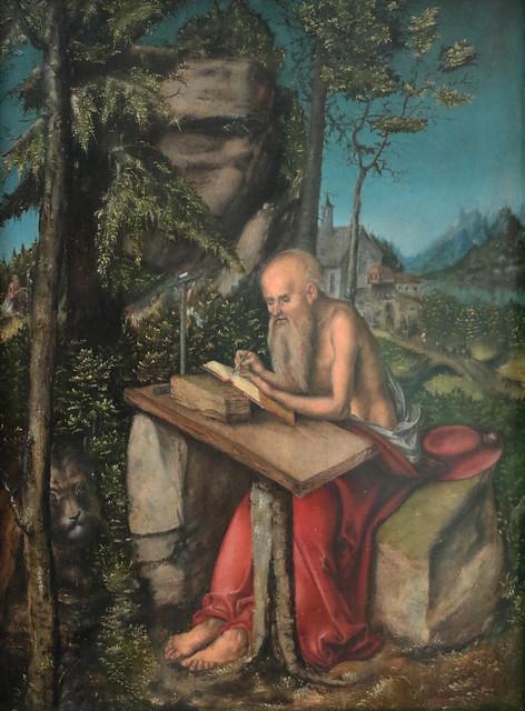 Lucas Cranach il Vecchio (Kronach, 1472 - Weimar, 16 ottobre 1553) - San Girolamo in un paesaggio roccioso (intorno al 1515) dimensioni 49,4 - 49,2 cm - Gemäldegalerie, Berlino