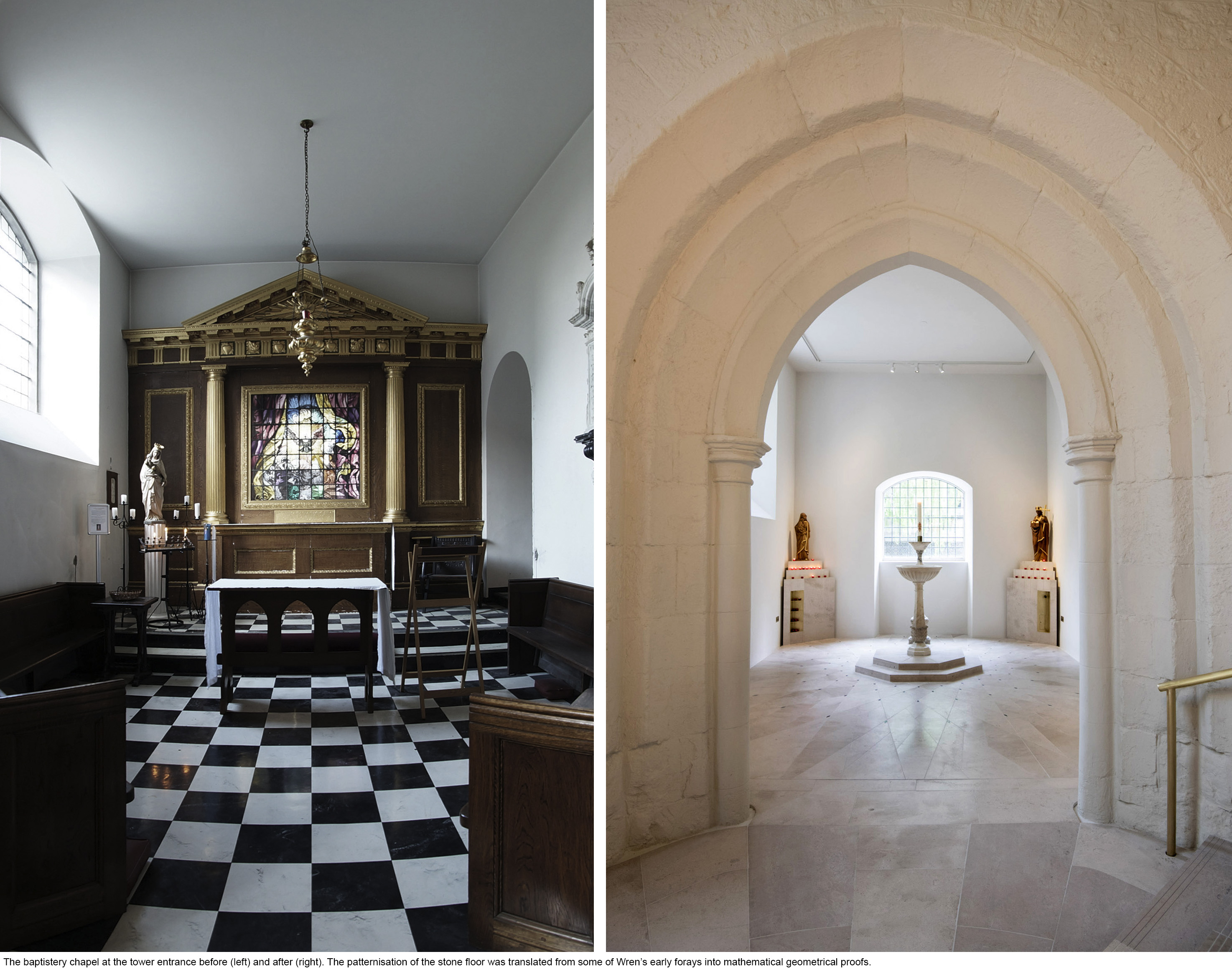 Presidents' Award Shortlist 2019 - St Andrew's church, Holborn - Baptistery before and after