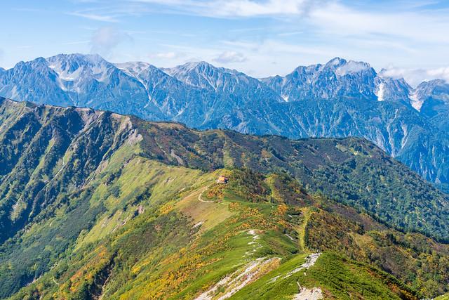 種池山荘へ色付き綺麗@爺ヶ岳南峰