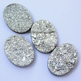 Natural silver drusy oval cabochon coated loose gemstone jewelry 8x6mm,9x7mm,10x8mm,11x9mm,12x10mm,14x10mm,12x16mm,13x18mm,15x20mm