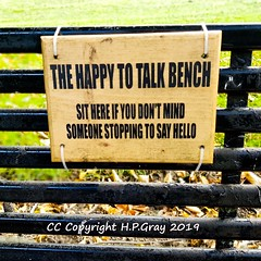 The happy to talk bench sign