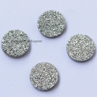 Natural silver round drusy coated cabochon loose gemstone silver color 6mm,7mm,8mm,9mm,10mm,11mm,12mm,13mm,14mm,15mm