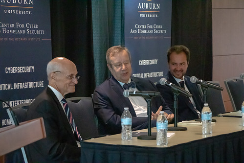 Former Homeland Security Secretary Michael Chertoff, former Estonian President Toomas Hendrik Ilves and McCrary Institute Director Frank Cilluffo