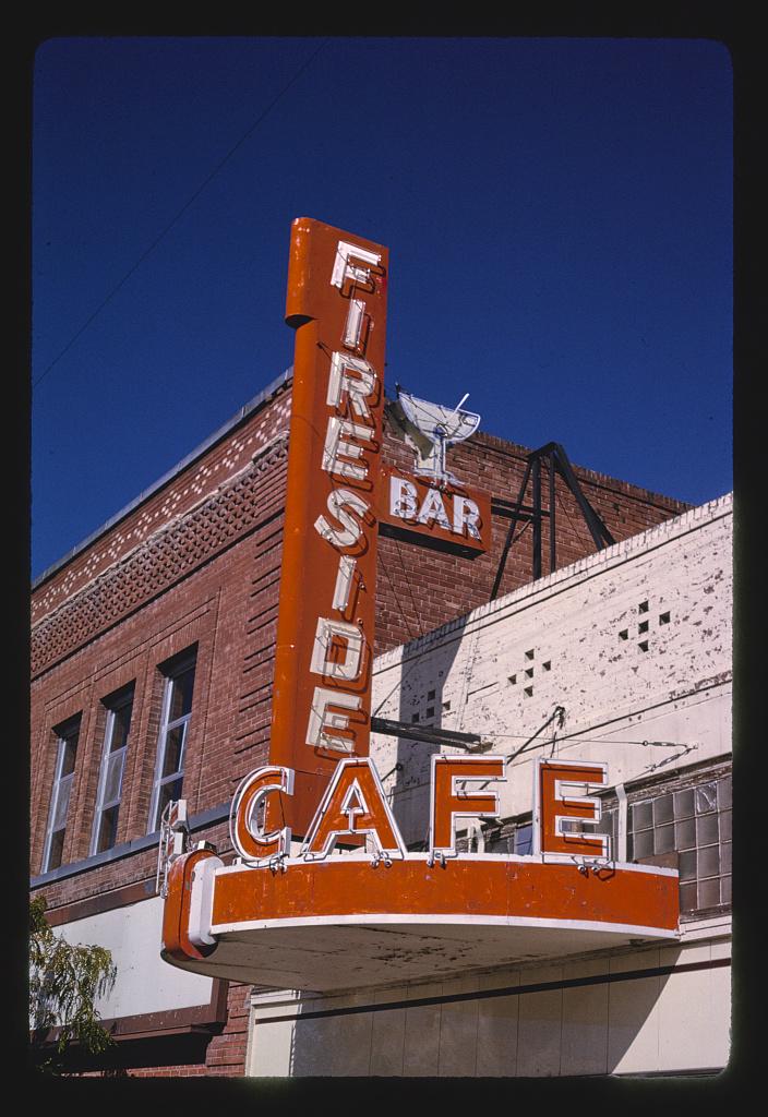 Fireside Cafe Canopy and sign, Main Street, Walsenburg, Colorado (LOC)