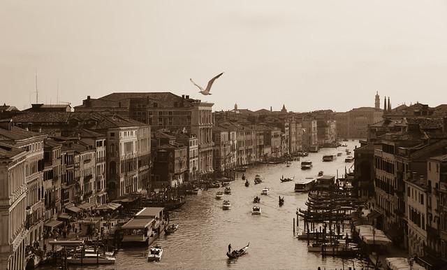 Venice - canal grand b/w
