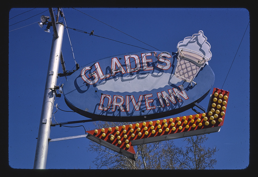 Glade's Drive-In ice cream sign, Route 6, Spanish Fork, Idaho (LOC)