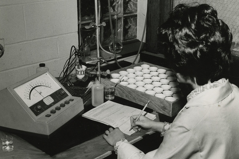 A woman at a desk taking notes for an experiment.