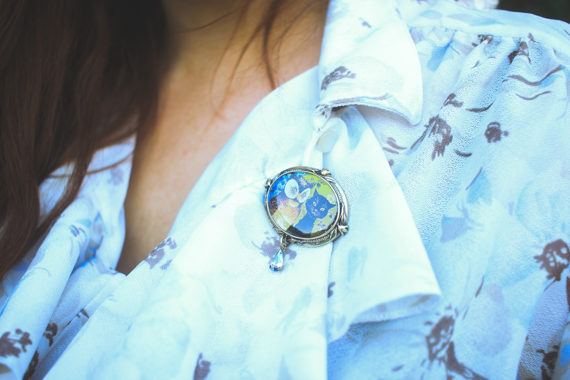 detail of a ruffled shirt and a cat and owl brooch