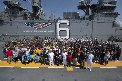 SAN DIEGO (NNS) -- The amphibious assault ship USS America (LHA 6) hosted 700 students from around the area as part of a Science, Technology, Engineering and Math (STEM) event August 6.