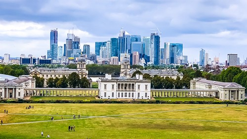 View of Greenwich Park and Queen's House from the Royal Observatory.