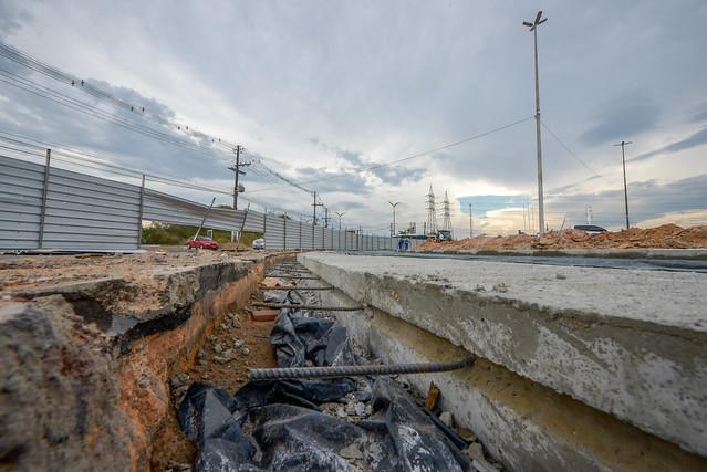Recuperação viária do Distrito Industrial altera trânsito na bola da Samsung