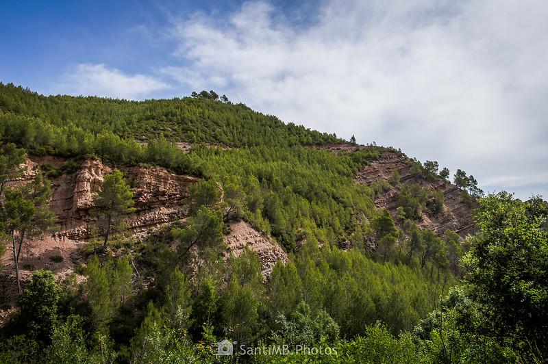 Estratos de roca cerca de los Gorgs de Coaner