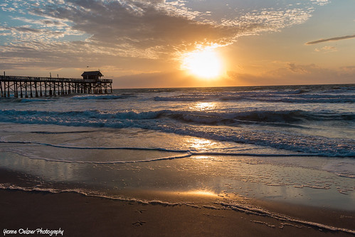 cocoabeach florida pier beach sunrise ocean waves sky clouds romantic landscape seascape