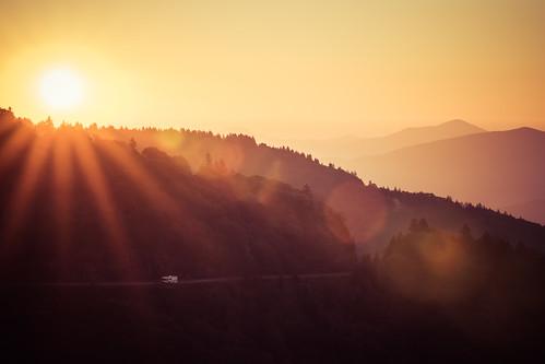 america appalachia appalachianmountains blueridgeparkway northcarolina yellowfaceoverlook dawn drivingamerica flare lensflare recreationalvehicle sunrise touringamerica travelingamerica