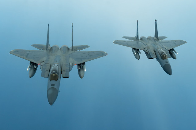 McDonnell Douglas (now Boeing) F-15C Eagles from the 44th Fighter Squadron