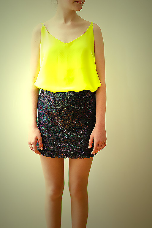 Cami and sequin skirt