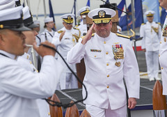Vice Adm. John D. Alexander is piped ashore after relinquishing command of U.S. 3rd Fleet to Vice Adm. Scott D. Conn, Sept. 27. (U.S. Navy/MC3 Timothy Heaps)