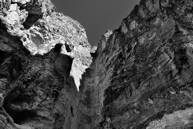 The End of a Trail and Base of a 100-foot Pour-off (Black & White, Big Bend National Park)