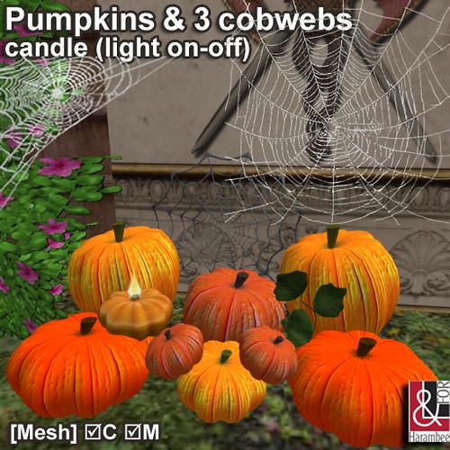 Mesh Pumpkins & 3 cobwebs