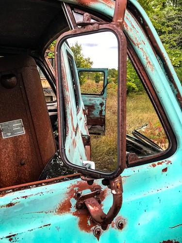 michigan unlimitedphotos rearview mirror auto abandoned rust