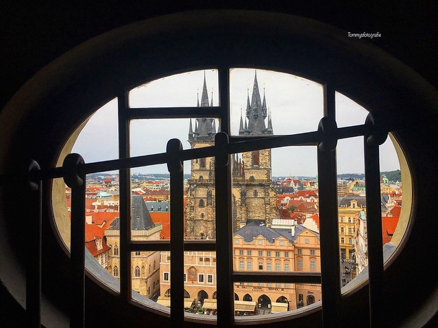 View from City Hall over the old time square in Prague