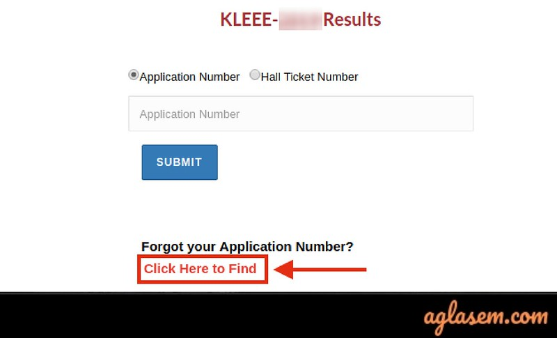 Recover KLEEE application number