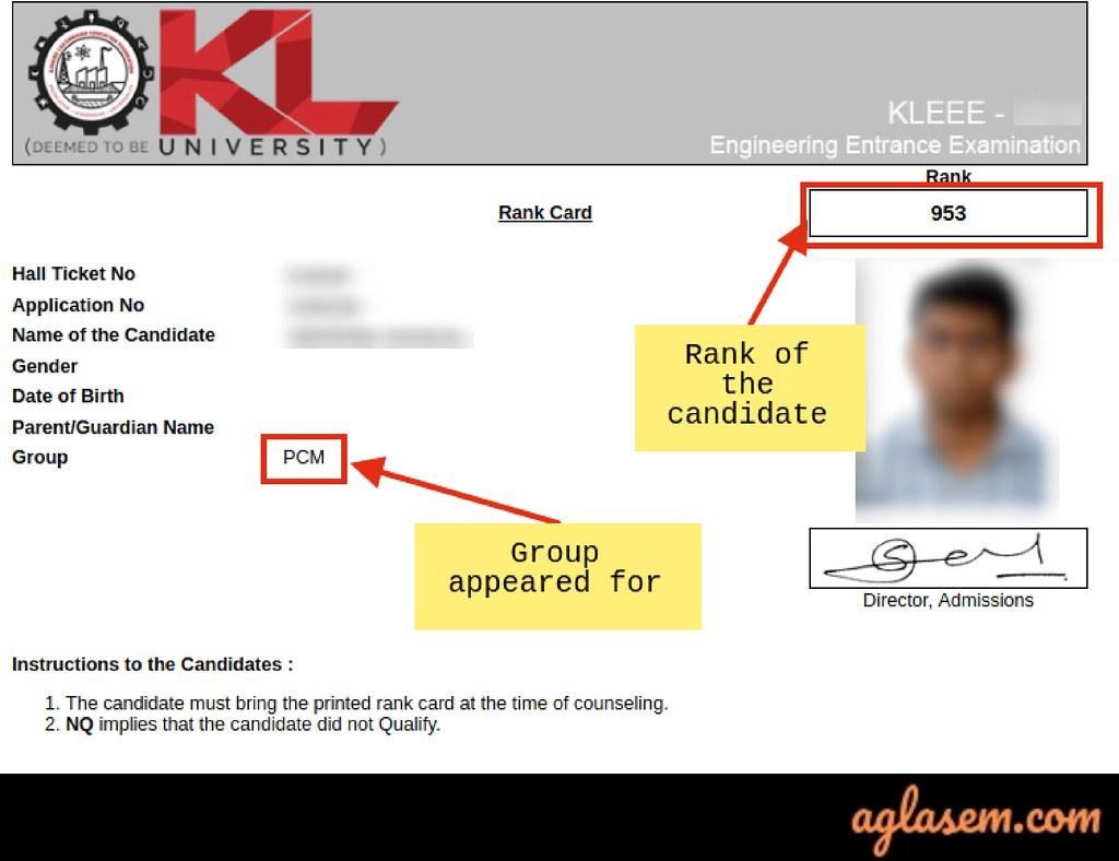 KLEEE 2020 Rank card