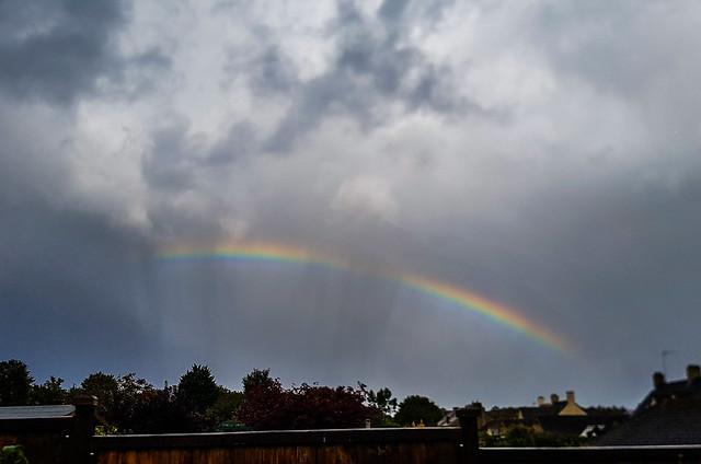 Rainbow with Rain & Anti-crepuscular Rays 15:41 BST 27/09/19
