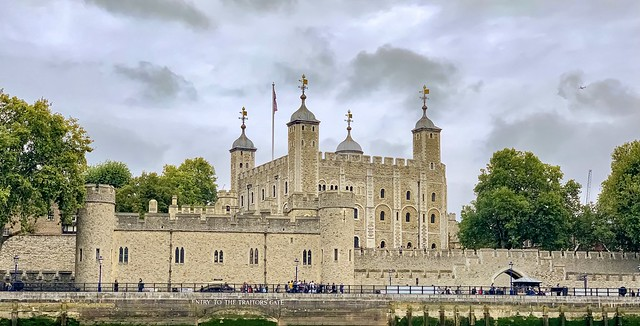 View of the Tower of London from River Thames.