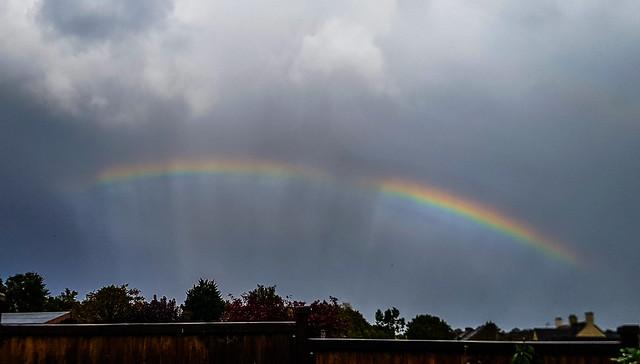 Rainbow with Rain & Anti-crepuscular Rays 15:40 BST 27/09/19