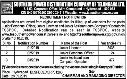 TSSPDCL Notification 2019 Out for 2939 Vacancies, Apply Online from 10 Oct at tssouthernpower.com