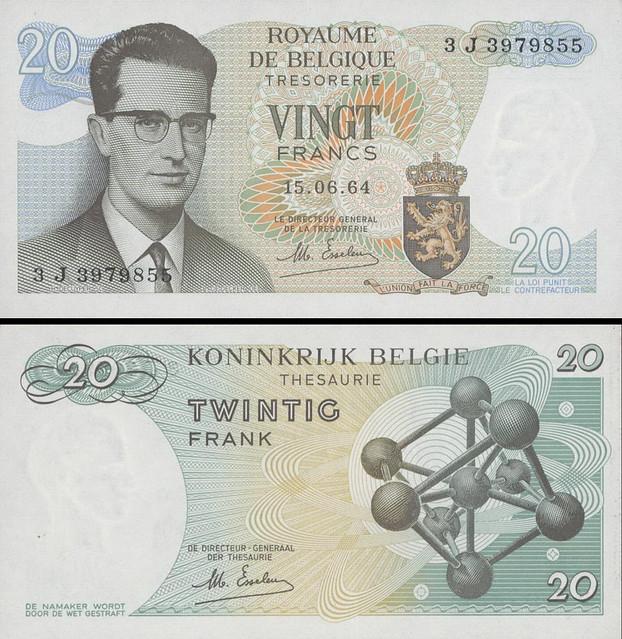 20 Francs Belgicko 1964 P138