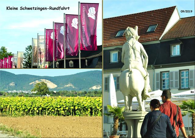 20. September 2019_Schwetzingen Rundfahrt _Mozartfest_Tabakfeld_Carl-Theodor-Skulptur von Peter Lenk ... Fotos und Collage: Brigitte Stolle