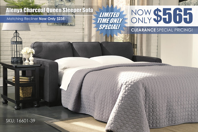 Alenya Charcoal Queen Sleeper Sofa_16601-39