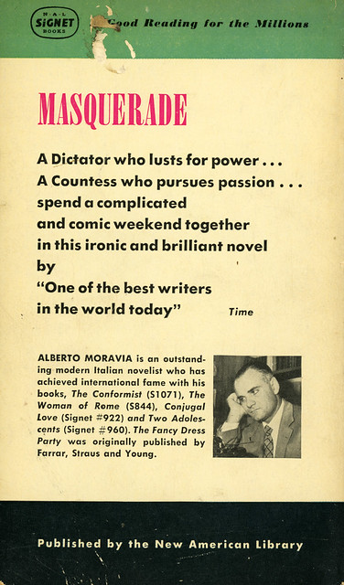 Signet Books 1122 - Alberto Moravia - The Fancy Dress Party (back)