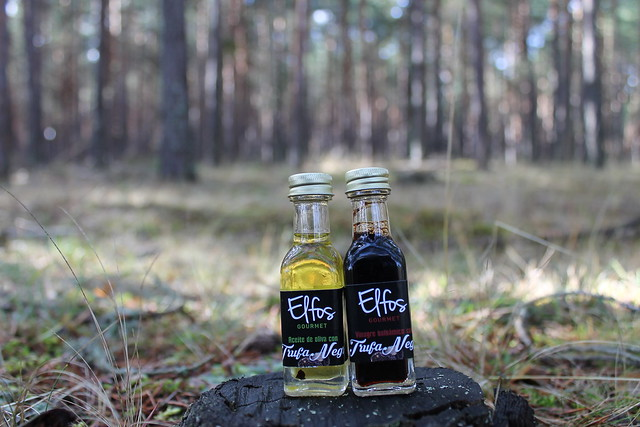 botellitas 10 ml aceite y vinagre con trufa negra