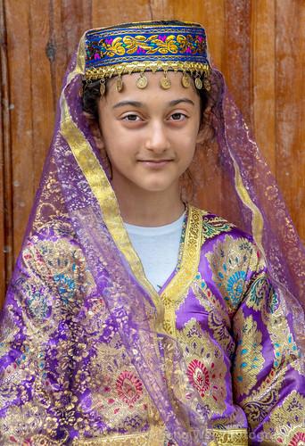 traveldestinations girl outdoors travel caucasus tradition vertical azerbaijan colorimage eurasia tourism lahic traditional ismaillidistrict