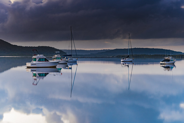 Clouds, Boats and Reflections - New Day on the Waterfront