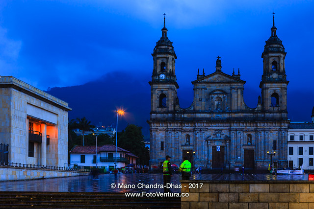 Bogota, Colombia - Plaza Bolivar on a rainy evening, after Sunset, with an almost Ethereal Blue Background
