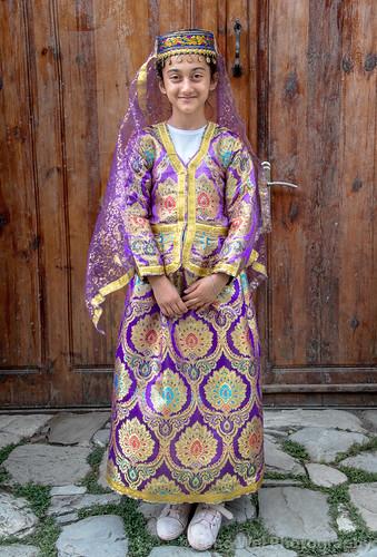 traveldestinations girl tradition travel eurasia outdoors vertical azerbaijan colorimage caucasus tourism lahic traditional ismaillidistrict