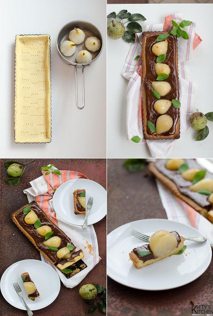 Crostata al cioccolato e pere caramellate
