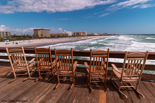 cocoabeach pier florida ocean landscape seascape beach waves sky clouds rockingchair