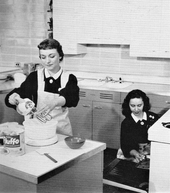 Students in the kitchen of their home making class  at Immaculata High School in Chicago 1957