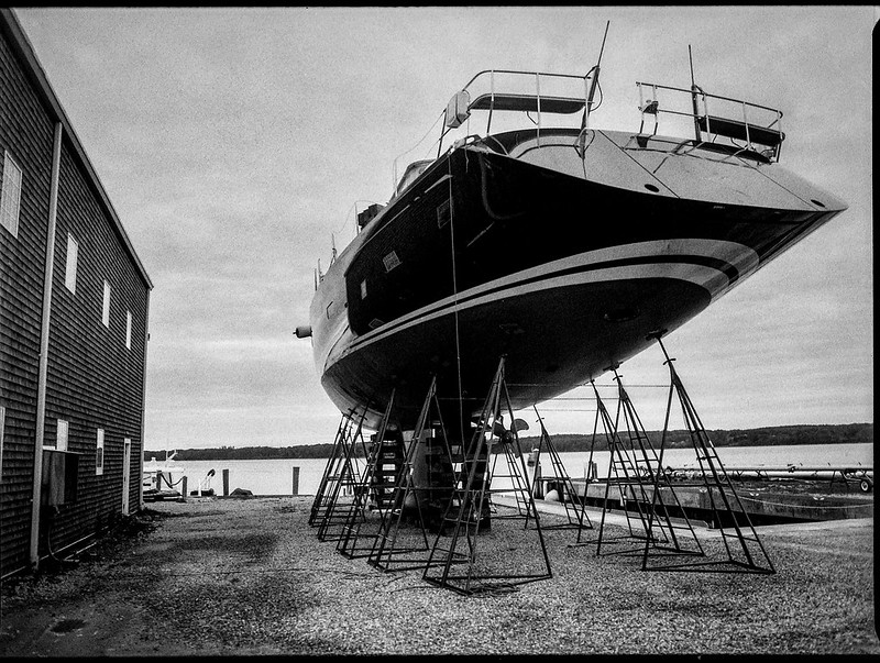 looking up, ship on stands, Lyman Morse Boat Yard, Thomaston, Maine, Mamiya 645 Pro, mamiya sekor 45mm f-2.8, Bergger Pancro 400,  HC-110 developer,  9.13.19